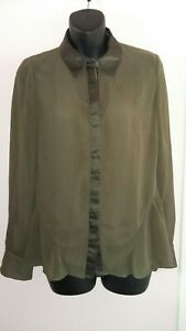 Karen Millen UK 12 Ruffle Flare Green Shirt