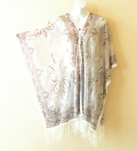 Ivory Chiffon Sheer Poncho Tunic Scarf Top Cover up with Lace Fringe Free Size