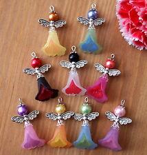 9x angel charms pendentifs lucite givré fleurs 2 tons argent ailes mixte (sh)