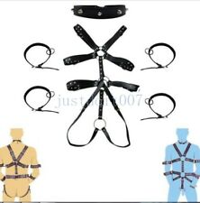 Mens Leather Full Body Suit Harness Strap Gay Interest Bodysuit Clubwear Costume