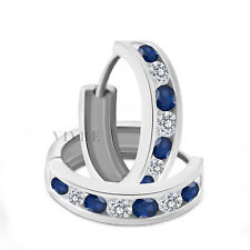 0.50 Ct Round Blue Sapphire and D/VVS1 Huggie Earrings in 14K White Gold Over