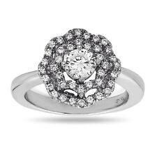 With Crystals Bridal Wedding Ring .925 Sterling Silver Engagement Ring