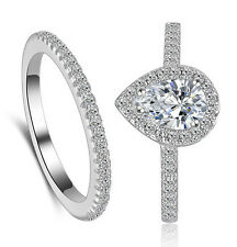 Silver Women Wedding Bridal Engagement Ring Set Drop Shape Ring R206