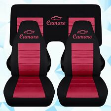 Front and Rear Chevy Camaro Coupe Black and burgundy Seat Covers 2010-2015 ABF
