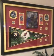 2009 Cardinals vs Steelers Framed Canvas Super Bowl XLV Program Tickets Pennants