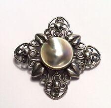 Original Arts & Crafts silver & mother of pearl brooch, c1910