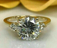 2.29ct Round Cut Solitaire Diamond Ring Engagement Band Solid 14k Yellow Gold