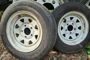 2 Trailer tyres and Rims 13 inch with ford stud pattern