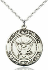 Men's 925 Sterling Silver St Michael Navy Military Catholic Medal Necklace