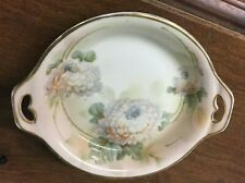 """Saxe ES Germany 7-3/4"""" Handle Bowl Hand Painted Flowers"""