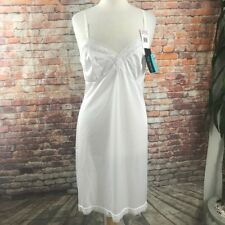 New Vtg Vanity Fair Medium 38 White Lace Slip Jersey Nylon Nightgown Pin Up