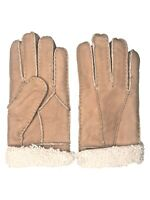 Women's Genuine Sheepskin Brown / White Fur Leather Shearling Fur Gloves