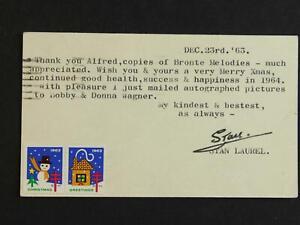 COMEDIAN STAN LAUREL (1890-1965) (LAUREL and HARDY) AUTOGRAPH 1963 TLS POSTCARD~