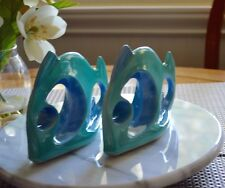 1950's Mid Century Modern Ceramic Fish Figurines Blue & Green