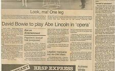 Tennessee Williams Dies David Bowie to Play Abe Lincoln February 28 1983 C1