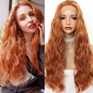 24inch Synthetic hair Lace front wigs Daily use Orange Long Wavy Curly Full Head
