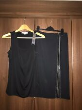 Michael Kors Sleeveless Chain Top And Split Leather Trim Pencil Skirt Size 8