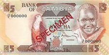 Zambia 5 Kwacha 1980 Unc Specimen pn 25bs