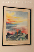 MID CENTURY ABSTRACT WATERCOLOR PAINTING! ORIG. MODERN ART VTG ATOMIC 50'S 60'S