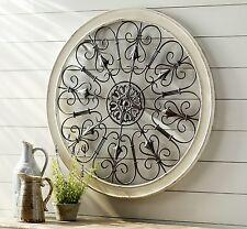Large Rustic Shabby Wood Scroll Wrought Iron Wall Grille Art Plaque Home Decor