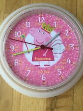 Girls Peppa Pig Fairy Teaching wall Clock Learn Tell Time Personalised gift