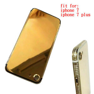 For Iphone 7 plus Gold Plated Diamond Back Housing Crystal Battery Back Cover
