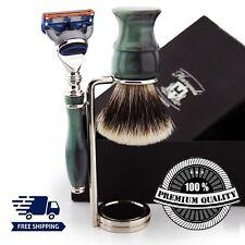 Green Handle Silver Tip Badger Brush Shaving Set & 5 Edge Razor Blades & Stand