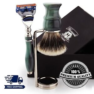 Green Handle Silver Tip Badger Brush Shaving Set & 5 Edge Razor Blades & Stand