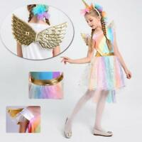 Kids Girls Costume Rainbow Unicorn Tutu FANCY DRESS Party Cosplay Outfit Gift
