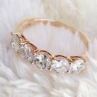 5 Stone Real Moissanite Ring 2Ct Wedding Anniversary Band Ring 14k Yellow Gold