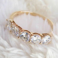 Real Moissanite Ring 14k Yellow Gold 2.0Ct Wedding Anniversary Band Ring 5Stone