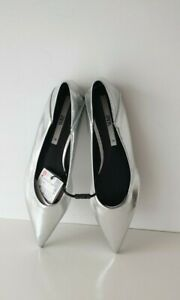ZARA SILVER SOFT FAUX PATENT LEATHER POINTED FLAT SHOES NEW SIZES 5&7&8 EU 38&40