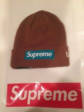 FW17 Supreme New Era Box Logo Beanie Rust World Famous Unisex Winter Knit Cap
