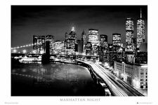 Poster Fotografico New York Torri Gemelle Ponte di Brooklyn Twin Towers Luci B/N