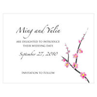 48 Cherry Blossom Printed Wedding Save Date Cards