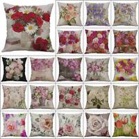"Vintage Flower Cotton Linen Pillow Case Cushion Cover Throw Sofa Home Decor 18"""