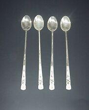 Korean Silver Iced Tea Spoons Stirrers Set 4 Etched Flowers Vintage
