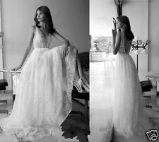 Applique Lace Open Back White Ivory Bridal Gown Beach Wedding Dress New Custom