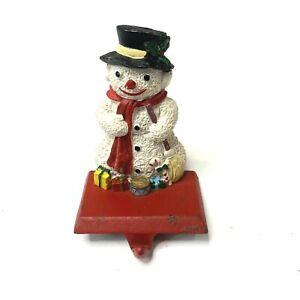 VTG Cast Iron Stocking Hanger Snow Man