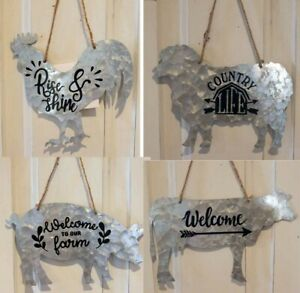 Metal Farm Animal Shaped Hanging Sign Country Rustic Home Decor