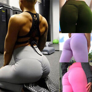 Women High Waist Yoga Pants Fitness Leggings Bum Scrunch Push Up Sport Trousers