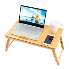 New listing Bamboo Laptop Desk Folding Breakfast Bed Serving Tray w/ Drawer & Fix Cup Tray