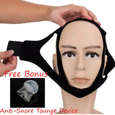 Anti Snore Chin Strap,Jaw Anti-Apnea Sleep Aid, BONUS FREE TONGUE RETAINER 2for1