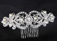 Bridal Rhinestones Crystal Diamante Vintage Pearls Wedding Hair Comb Headpiece