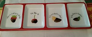 ONEIDA TANYA LEE CHOCOLATE FRUIT DIPPED SECTIONED PLATE EARTHENWARE TRAY