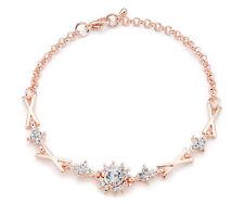 Rose Gold and Rhinestone Link Bracelet