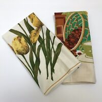 Vintage Set Of Two Kitchen Linen Towels COFFEE Grinder & Yellow Tulips Floral