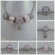 ~ Pale Pink Flower 5 Piece Bead/Charm Set ~ FOR CHARM BRACELETS ~ Gift Bag ~