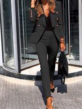 Tailleur elegante ufficio completo donna nero elegante  giacca pantalone  4936