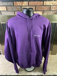 VINTAGE Champion Gym Workout Hooded Hoodie Sweatshirt Mens Size XXL Purple Vtg